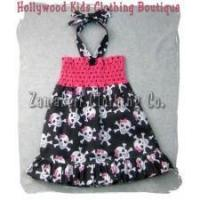 Best Toddler Baby Girl Retro Pirate Skull and Bones Dress wholesale