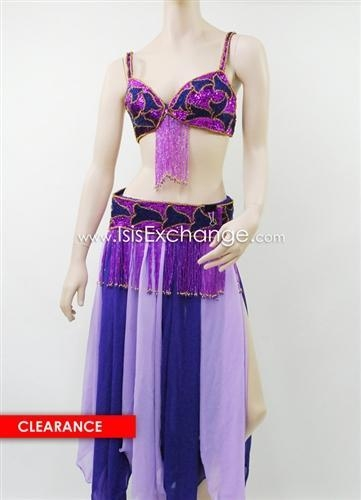 Cheap Belly Dance Costume in Purple and Lavender for sale