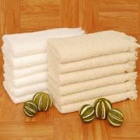 China Fringed Terry Fingertip Towel 13x18 100% Cotton Natural 24 Dz Per Case Price Per Dz on sale