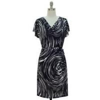 Buy cheap Dresses Black White Swirl Womens Size MEDIUM 10/12 Cowl Top Belted Shift Dress Clothing from wholesalers