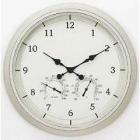 China Acu-Rite 24 in. Indoor/Outdoor White Clock with Thermometer & Hygrometer on sale