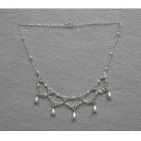China White Faux Pearl Necklace w/ 5 Drops on sale
