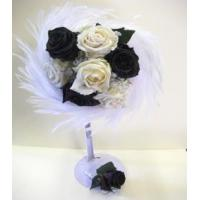 Best Marabou white and black rose posy wholesale