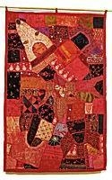Cheap Gujarati Indian Patchwork Wall Hanging Large for sale