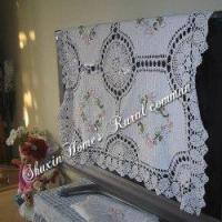 China Hand Crochet Lace Silk Ribbon Embroidery Table Cloth33X33 on sale