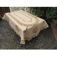 China Vintage crochet/Silk Ribbon Embroidery Large Oval Table Cloth on sale