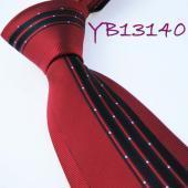 China Yibei Ties Bordered Red With Black Stripes Woven Necktie Mens Neck Tie on sale