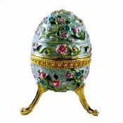 Large Flowered Blue Faberge Egg Box