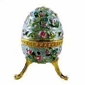 Cheap Large Flowered Blue Faberge Egg Box for sale