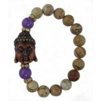Picture Jasper Buddha Bracelet with Amethyst and CZ Beads