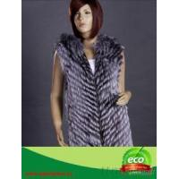 China Stripes Double Face Real Fox Fur Women Winter Vest on sale