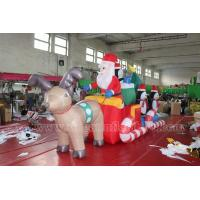Best Lighting Decorations Airblown outdoor inflatable decoration santa with reindeer for sale wholesale
