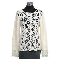 China Ladies' Wear Hand crochet on front and cuff round neck long sleeves pullover on sale