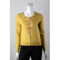 China Ladies' Wear 12gg Jersey Knitted with Silk Ribbon Embroidery Front Cardigan on sale