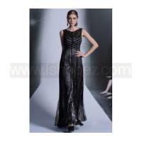 China Simple design floor length black formal evening party dress & mother of the bride dress on sale