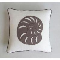 China white nautilus sea shell shell cushion and pillow cover with taupe nautilus shell on sale