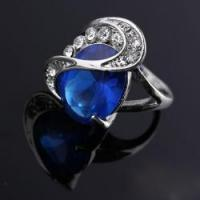 China Sea Blue Color Crystal Rings With Platinum Plating Rings Xld on sale