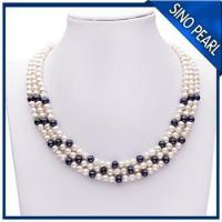 China A 5-6MM / 6-7MM 18Inch Three Strands Natural Fresh Water Pearl Necklace PN004 on sale