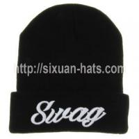 Best 3D Embroidered Beanie Hats Folded 3D embroidered 100% acrylic hat for sale wholesale