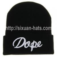Best 3D Embroidered Beanie Hats Letters embroidered custom acrylic knitted hat wholesale