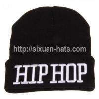 Buy cheap 3D Embroidered Beanie Hats 3D embroidery pom pom beanie hats wholesale from wholesalers