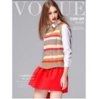 China Multicolor Strip crew neck sleeveless knit women sweater vest on sale