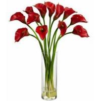 China Mini Red Calla Lily Silk Flower Arrangement on sale