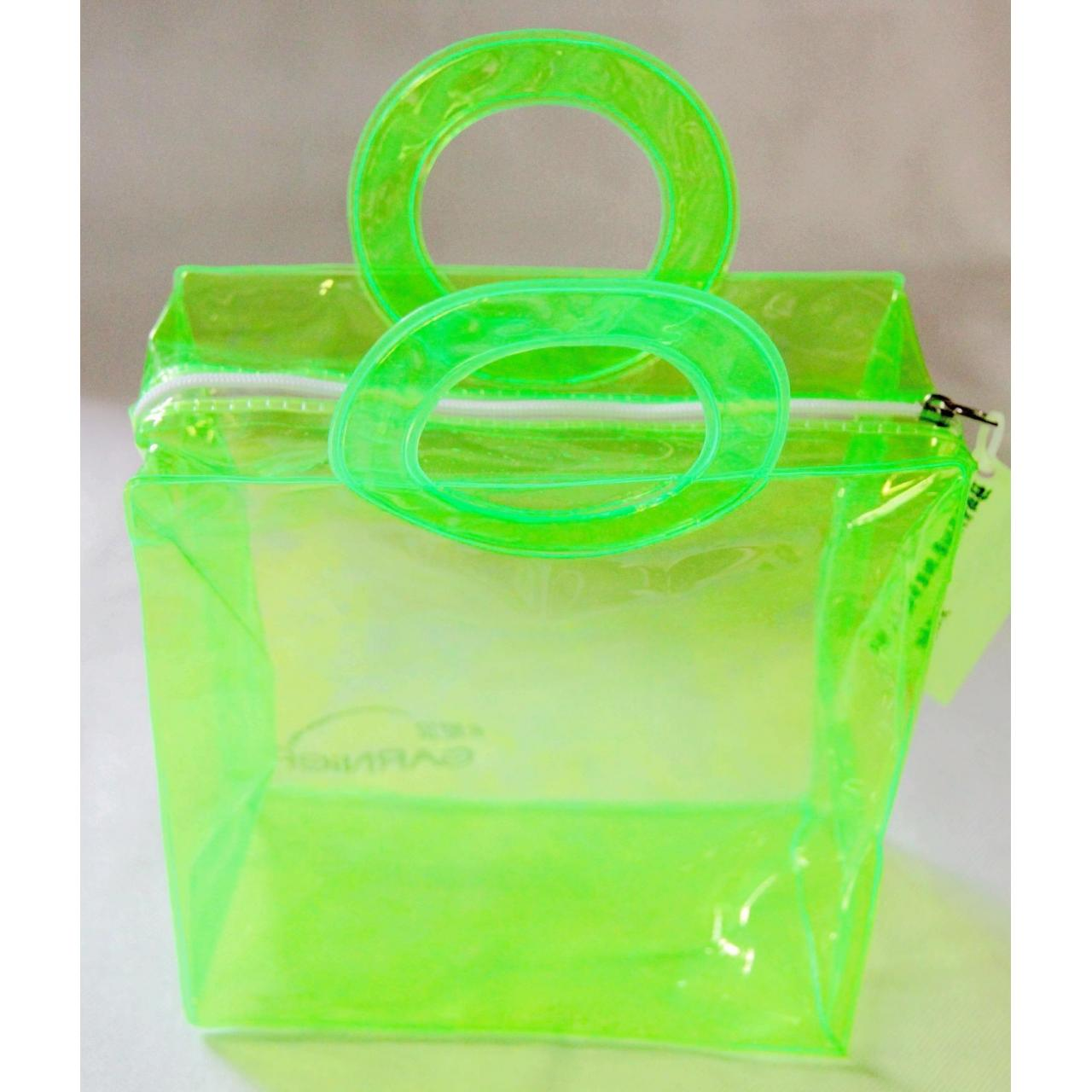 PVC Plastic Handle Bag,Transparent Green Bag With Zipper
