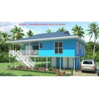Cheap Fireproof Two-Story Prefab Beach Bungalow , Blue Home Beach Bungalows for sale