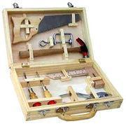 China Wooden toys Tool box, 8 pieces, popular in Europe, DIY toy for 8 years up, be a wood carpenter on sale