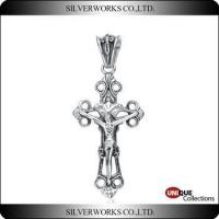 Jesus' Crucifixion Cross Silver Pendant For Men Antique silver Cross Charms