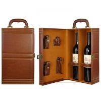 China PU Leather 2 bottles Red Wine Box with Tools on sale