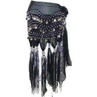 China Jinglies Black Belly dance scarf with tassels silver coins on sale