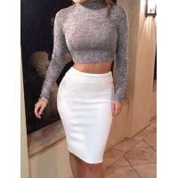 China Turtle Neck Long Sleeve Crop Top and Bodycon Knit Skirt on sale