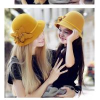 Best Fashion Yellow 100% Wool Small flower and diamond Decorative Hats For Women FW002210 wholesale