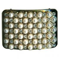 Best Rectangle Metal Shoe Clips Pearl and Rhinestone Embellishment wholesale