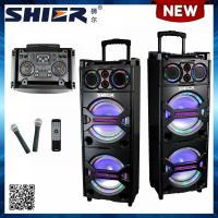 OEM Double 10 inch Rechargeable Powered Battery Portable Trolley Speaker For Stage
