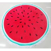China 100% Cotton Wholesale Velvet Reactive Printing Customized Circular Round Beach Towels on sale