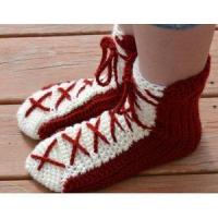 China Red & White Crocheted Lace Up Bed Socks on sale