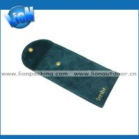 China Deep green suede flap necklace jewelry pouch on sale