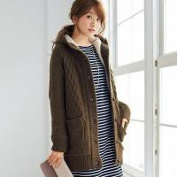Best Berber Fleece-Lined Cable Knit Hooded Cardigan wholesale