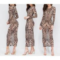 Best Hot Sale Women Patterned Round Neck Long Sleeve Maxi Dresses XY9019 #XY9019 wholesale