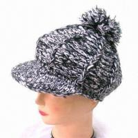China Women's Crochet Knit Hat with Pom-Pon, Available in Various Colors on sale