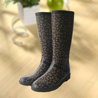 Cheap Elegant flowers printing rubber rain boot, woman knee boot for sale