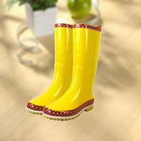 Best Fashion shiny smooth yellow woman rubber rain boot wholesale