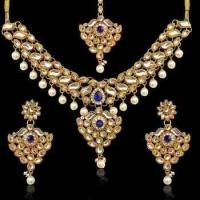 China Dancing Girl Kundan work floral blue stone leaves with dangling pearls necklace set d14b on sale