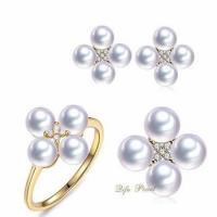 Best 5-6mm nice fashion Akoya pearl jewelry sets in 18K with diamond, factory price for wholesale wholesale