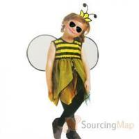 China Kids Yellow Black Striped Sleeveless Bumble Bee Cosplay Dress for Halloween Halloween Gifts & Items on sale