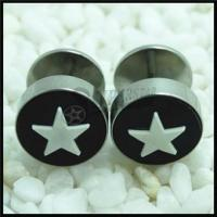 Best 316L Stainless steel star logos ear fake plug wholesale
