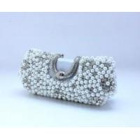 Women's Crystals Pearls Handbag Purse Makeup Bridal Evening Party Clutch Bag